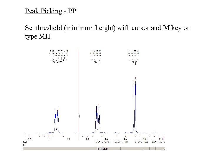 Peak Picking - PP Set threshold (minimum height) with cursor and M key or