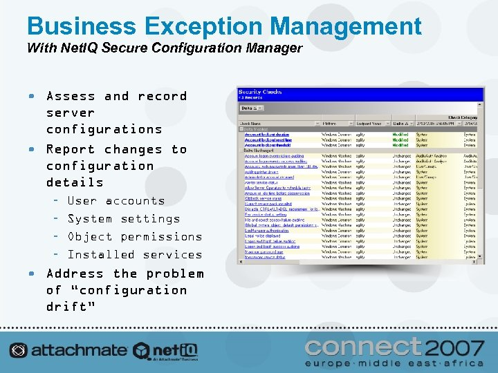 Business Exception Management With Net. IQ Secure Configuration Manager • Assess and record server