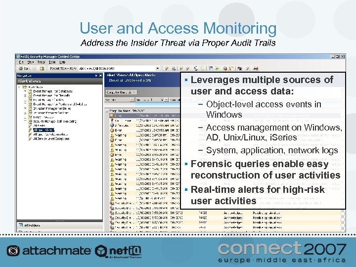 User and Access Monitoring Address the Insider Threat via Proper Audit Trails § Leverages