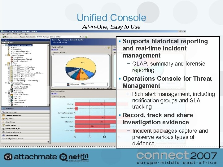 Unified Console All-in-One, Easy to Use § Supports historical reporting and real-time incident management