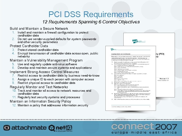 PCI DSS Requirements 12 Requirements Spanning 6 Control Objectives Build and Maintain a Secure