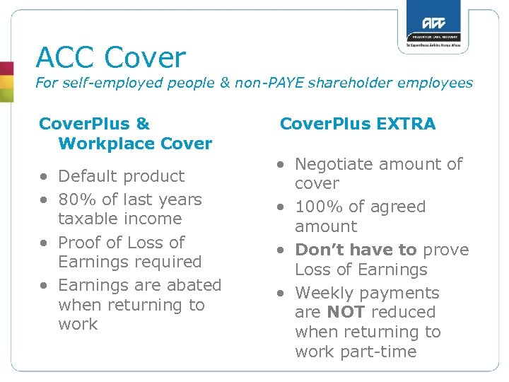 ACC Cover For self-employed people & non-PAYE shareholder employees Cover. Plus & Workplace Cover