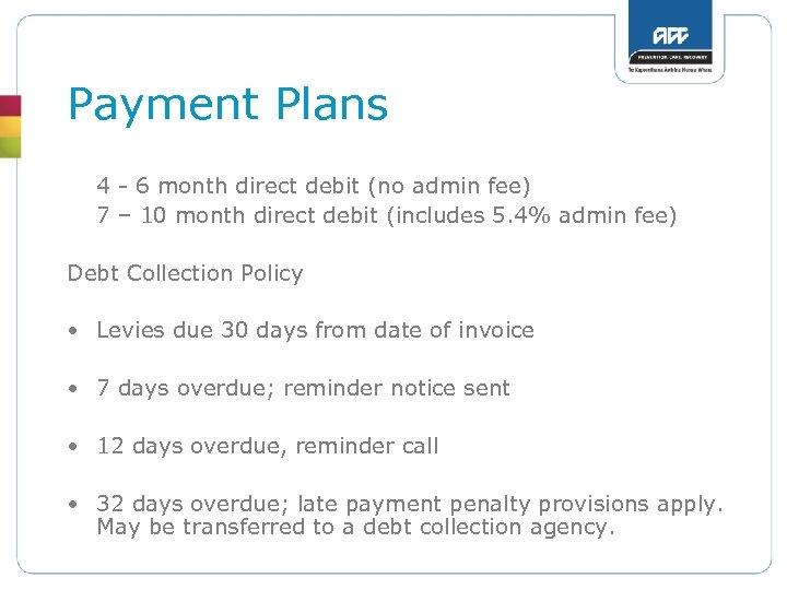 Payment Plans 4 - 6 month direct debit (no admin fee) 7 – 10