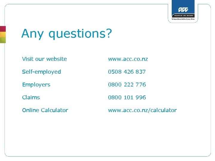 Any questions? Visit our website www. acc. co. nz Self-employed 0508 426 837 Employers