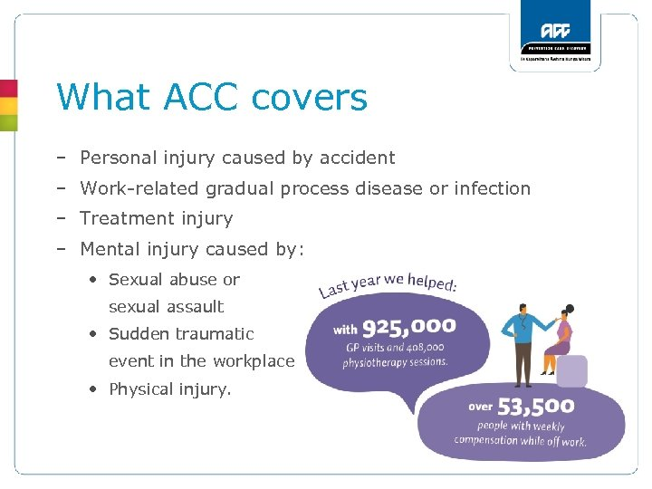 What ACC covers – Personal injury caused by accident – Work-related gradual process disease