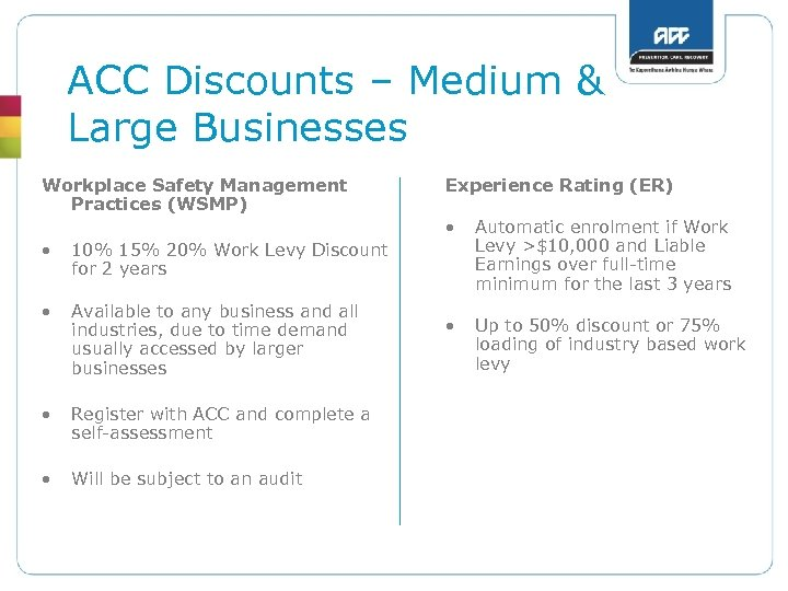 ACC Discounts – Medium & Large Businesses Workplace Safety Management Practices (WSMP) Experience Rating