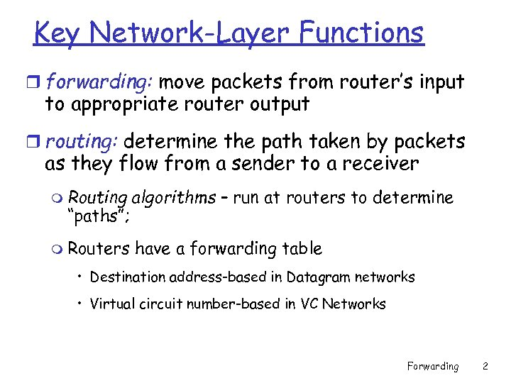 Key Network-Layer Functions r forwarding: move packets from router's input to appropriate router output