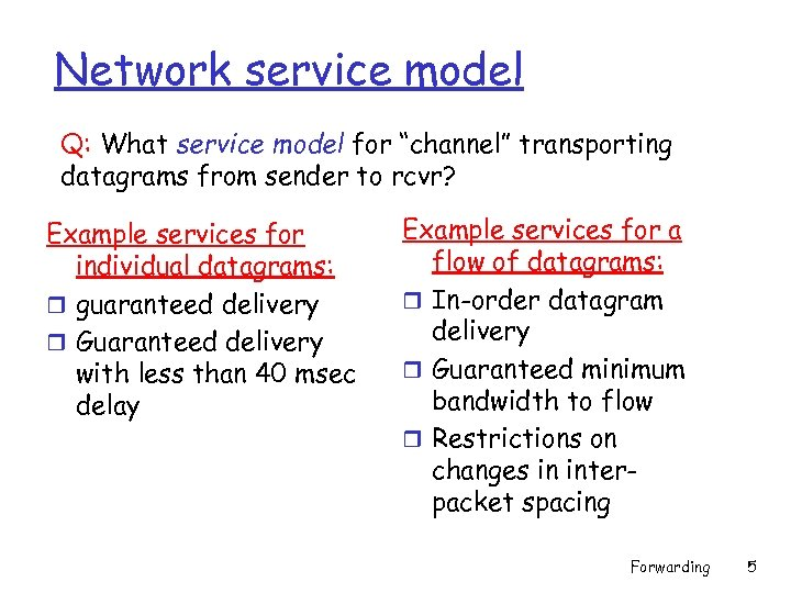 "Network service model Q: What service model for ""channel"" transporting datagrams from sender to"
