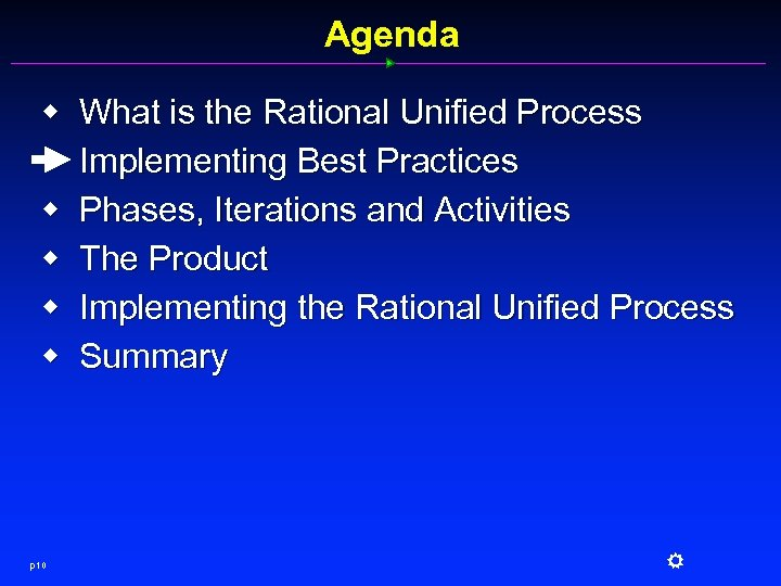 Agenda w w w p 10 What is the Rational Unified Process Implementing Best