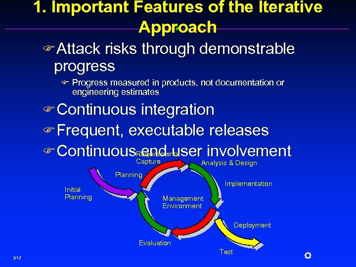 1. Important Features of the Iterative Approach FAttack risks through demonstrable progress F Progress