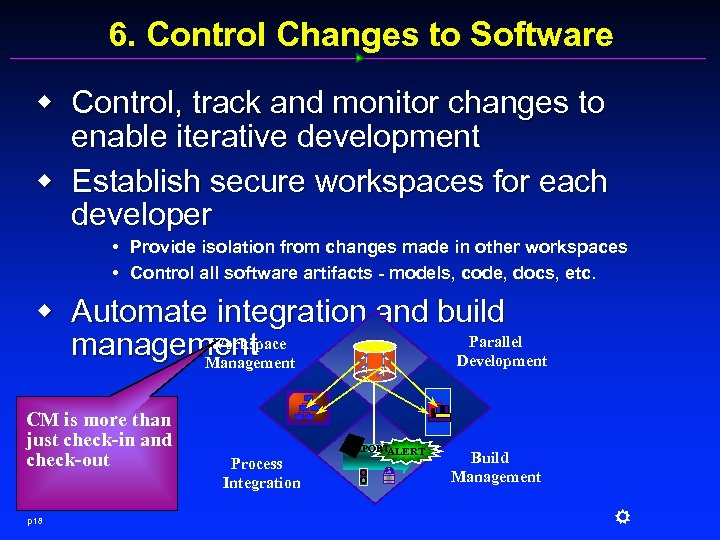 6. Control Changes to Software w Control, track and monitor changes to enable iterative