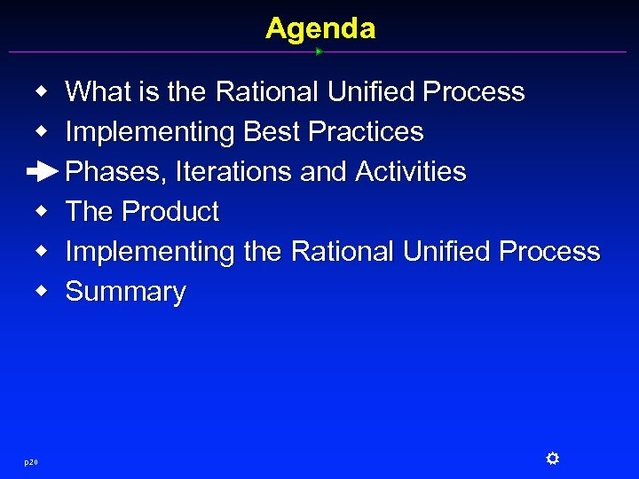 Agenda w w w p 20 What is the Rational Unified Process Implementing Best