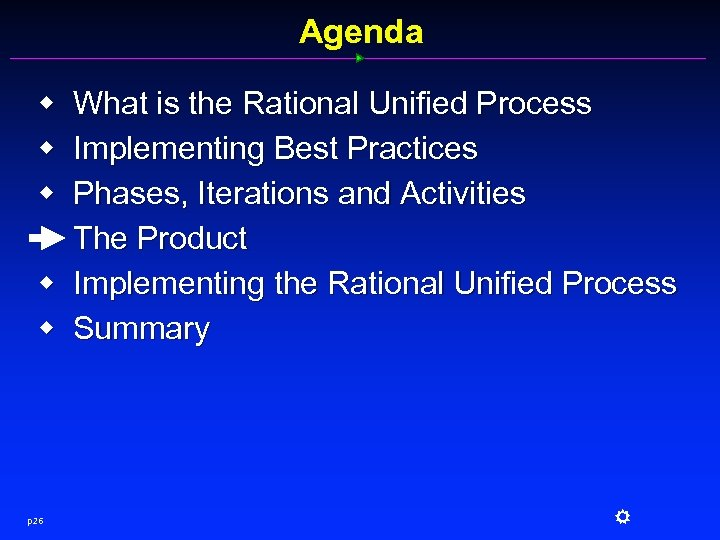 Agenda w w w p 26 What is the Rational Unified Process Implementing Best
