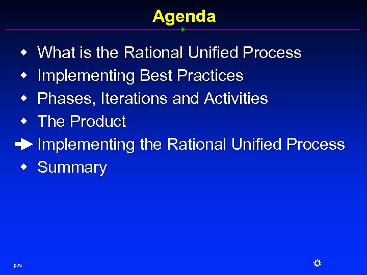 Agenda w w w p 35 What is the Rational Unified Process Implementing Best