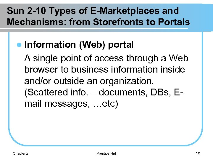 Sun 2 -10 Types of E-Marketplaces and Mechanisms: from Storefronts to Portals l Information