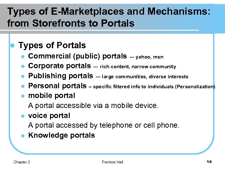 Types of E-Marketplaces and Mechanisms: from Storefronts to Portals l Types of Portals l