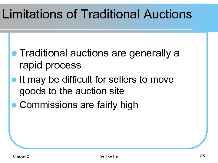 Limitations of Traditional Auctions l Traditional auctions are generally a rapid process l It