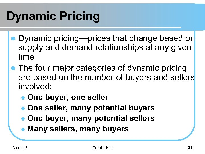 Dynamic Pricing Dynamic pricing—prices that change based on supply and demand relationships at any