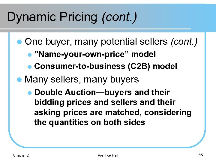 """Dynamic Pricing (cont. ) l One buyer, many potential sellers (cont. ) """"Name-your-own-price"""" model"""