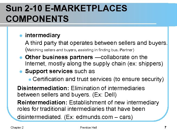 Sun 2 -10 E-MARKETPLACES COMPONENTS l l l intermediary A third party that operates
