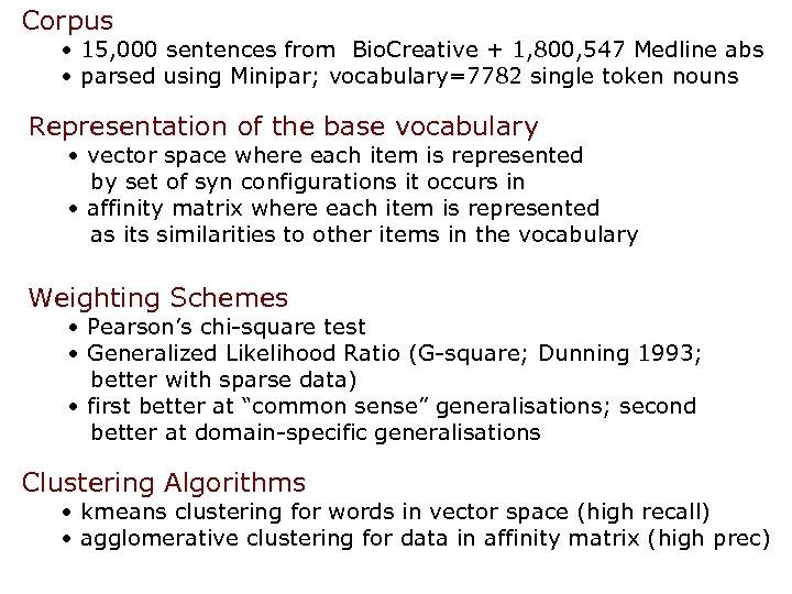 Corpus • 15, 000 sentences from Bio. Creative + 1, 800, 547 Medline abs