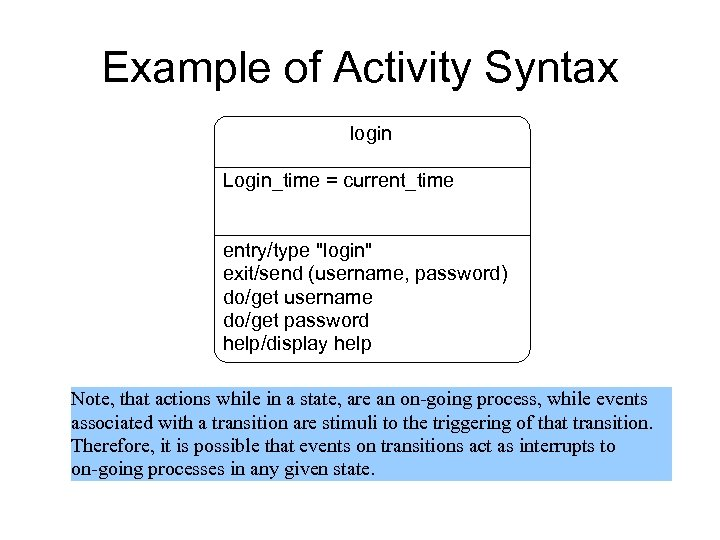 Example of Activity Syntax login Login_time = current_time entry/type