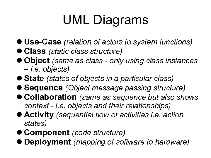 UML Diagrams Use-Case (relation of actors to system functions) Class (static class structure) Object