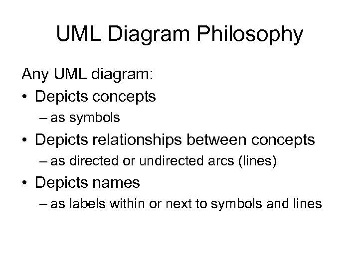 UML Diagram Philosophy Any UML diagram: • Depicts concepts – as symbols • Depicts