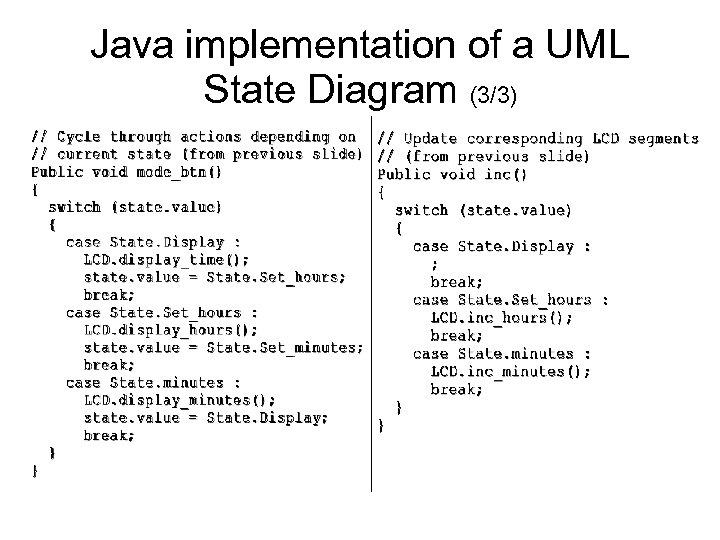 Java implementation of a UML State Diagram (3/3)