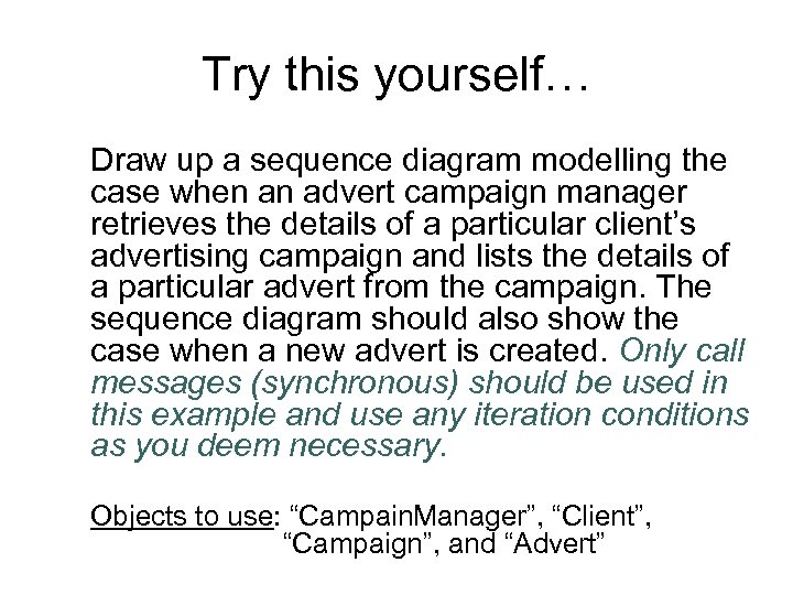 Try this yourself… Draw up a sequence diagram modelling the case when an advert
