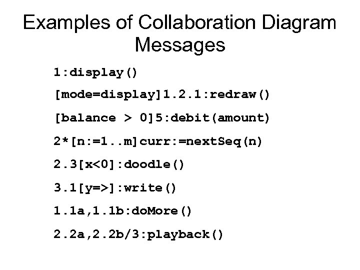 Examples of Collaboration Diagram Messages 1: display() [mode=display]1. 2. 1: redraw() [balance > 0]5: