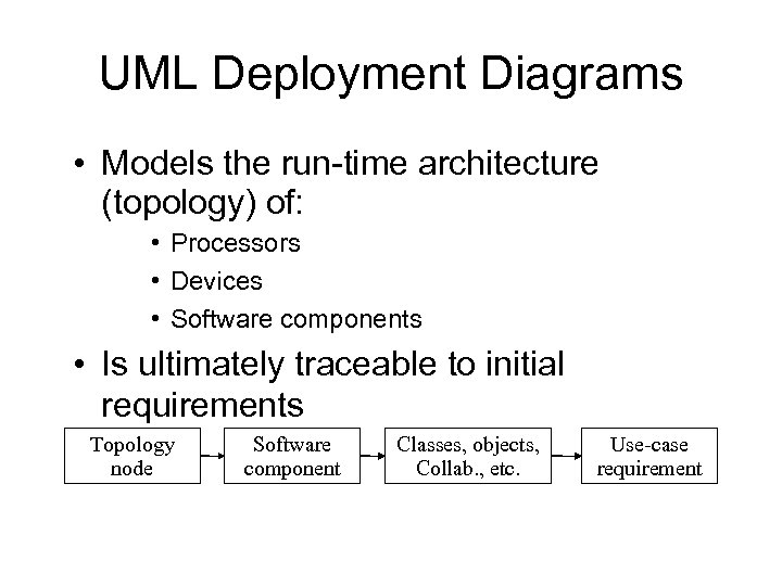 UML Deployment Diagrams • Models the run-time architecture (topology) of: • Processors • Devices