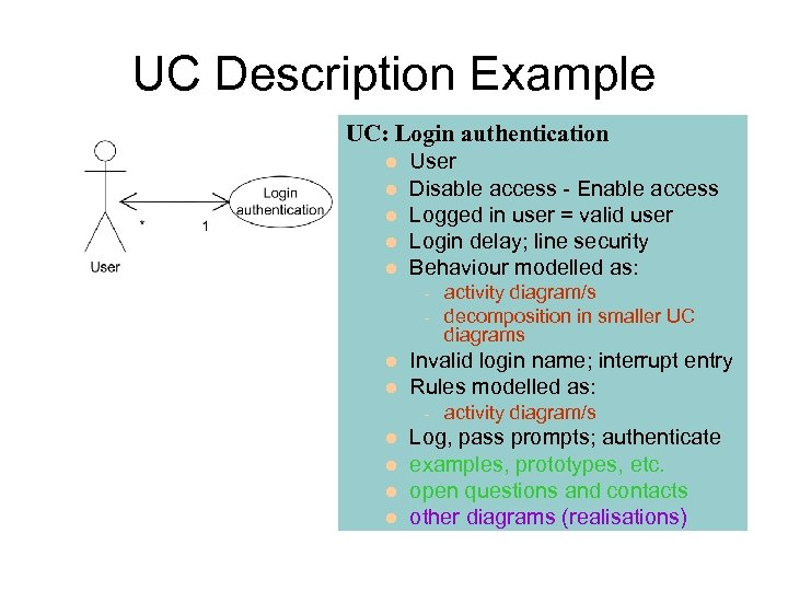 UC Description Example UC: Login authentication User Disable access - Enable access Logged in