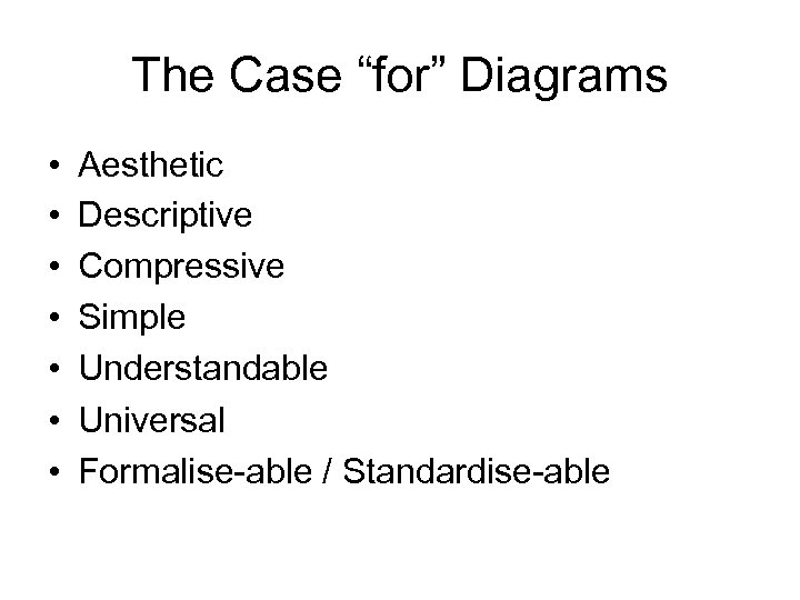 """The Case """"for"""" Diagrams • • Aesthetic Descriptive Compressive Simple Understandable Universal Formalise-able /"""