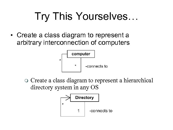 Try This Yourselves… • Create a class diagram to represent a arbitrary interconnection of