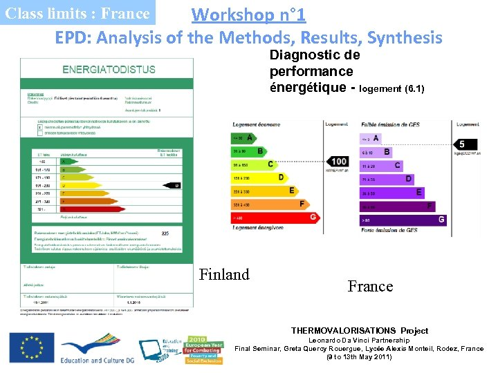 Workshop n° 1 EPD: Analysis of the Methods, Results, Synthesis Class limits : France