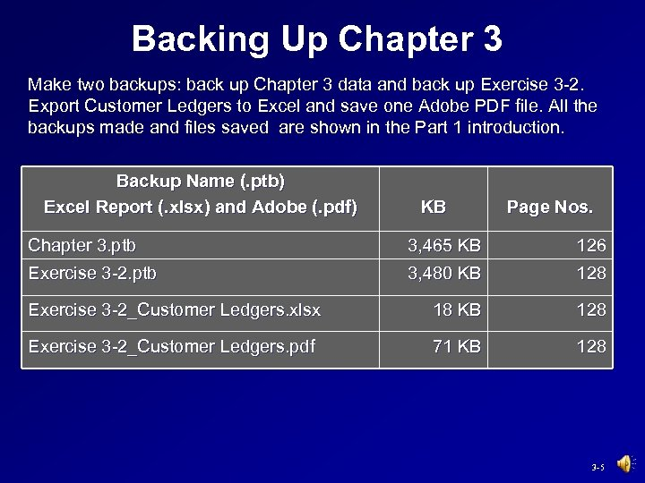 Backing Up Chapter 3 Make two backups: back up Chapter 3 data and back