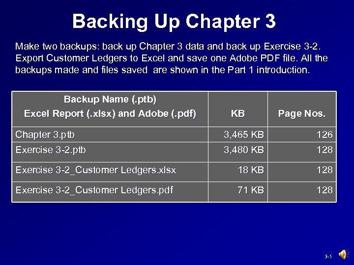 Backing Up Chapter 3 Make two backups: back up Chapter 3 data and back