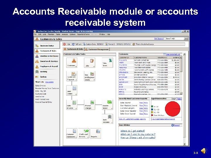 Accounts Receivable module or accounts receivable system 3 -8