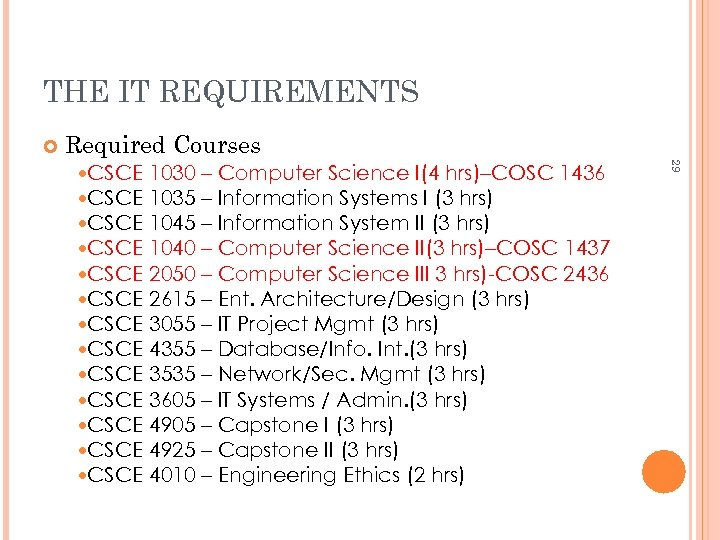 THE IT REQUIREMENTS Required Courses 1030 – Computer Science I(4 hrs)–COSC 1436 1035 –