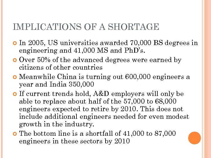 IMPLICATIONS OF A SHORTAGE In 2005, US universities awarded 70, 000 BS degrees in