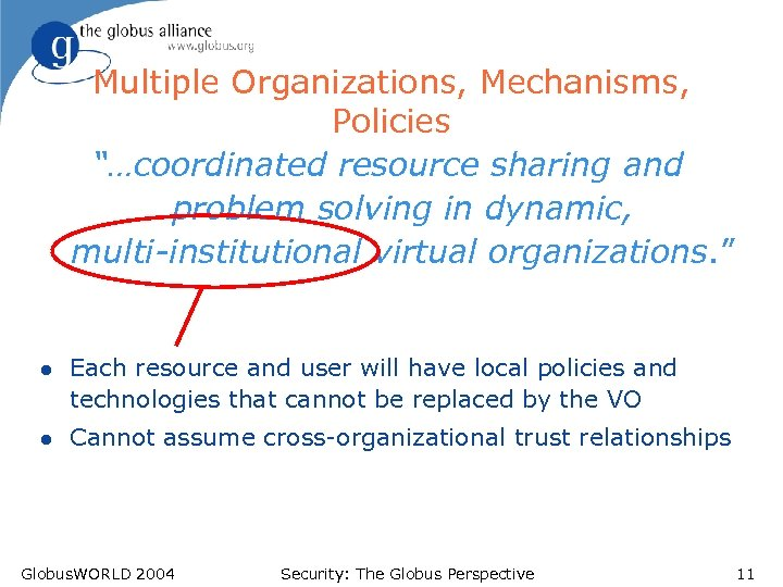"Multiple Organizations, Mechanisms, Policies ""…coordinated resource sharing and problem solving in dynamic, multi-institutional virtual"