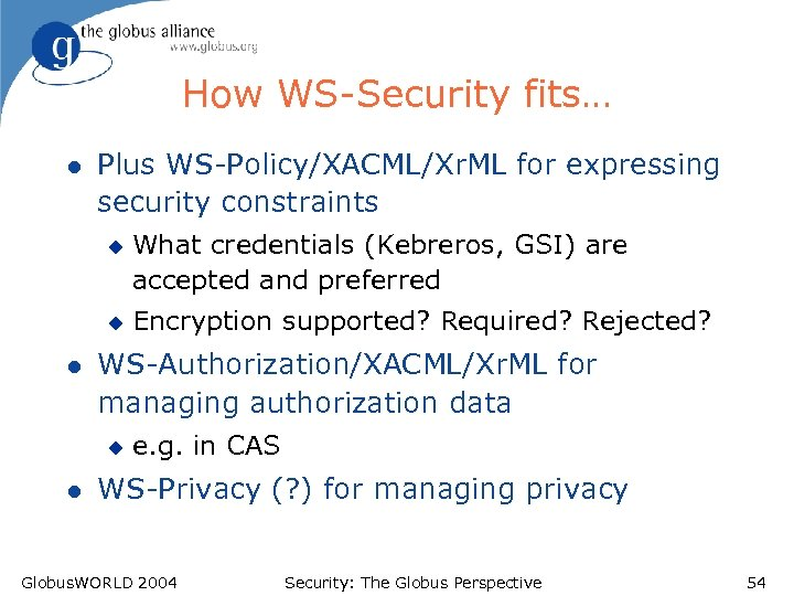 How WS-Security fits… l Plus WS-Policy/XACML/Xr. ML for expressing security constraints u u l
