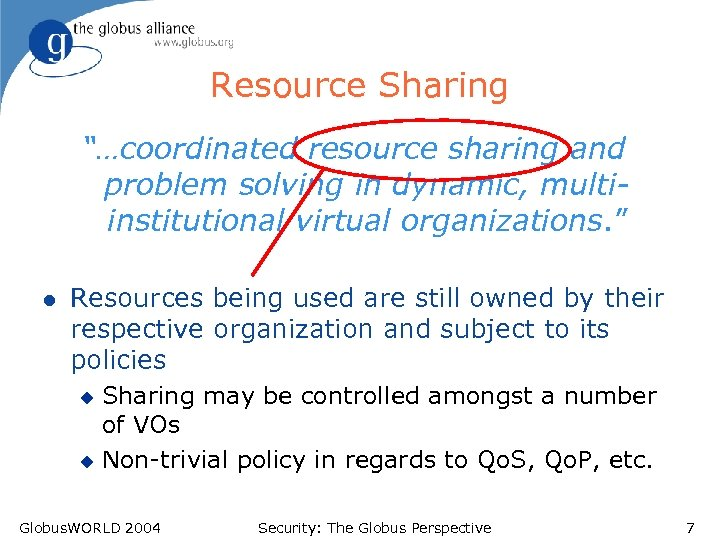 "Resource Sharing ""…coordinated resource sharing and problem solving in dynamic, multiinstitutional virtual organizations. """