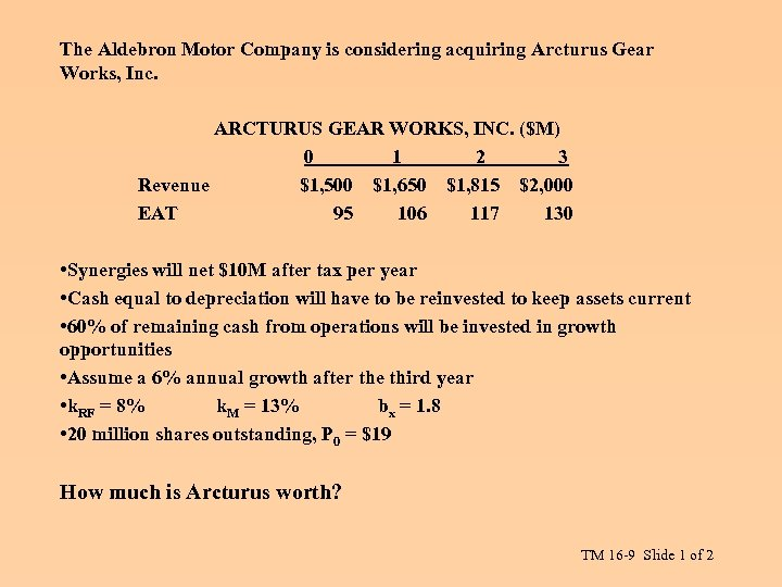The Aldebron Motor Company is considering acquiring Arcturus Gear Works, Inc. ARCTURUS GEAR WORKS,