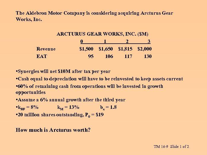 The Aldebron Motor Company is considering acquiring Arcturus Gear Works, Inc. ARCTURUS GEAR WORKS,