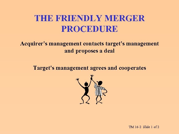 THE FRIENDLY MERGER PROCEDURE Acquirer's management contacts target's management and proposes a deal Target's