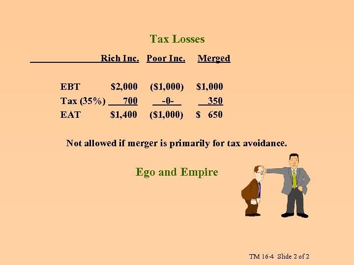 Tax Losses Rich Inc. Poor Inc. EBT $2, 000 Tax (35%) 700 EAT $1,
