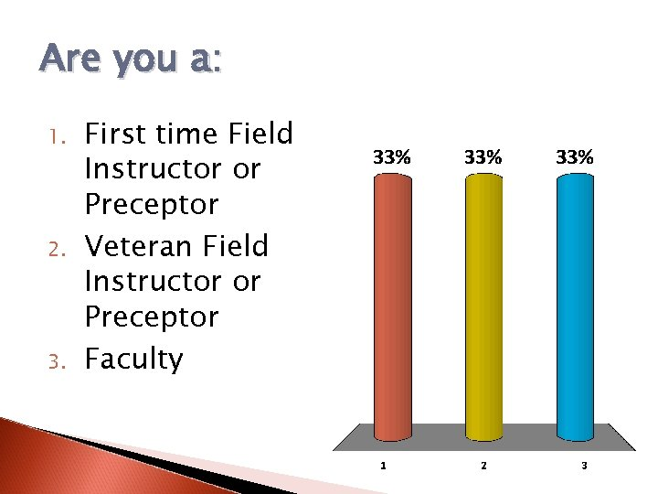 Are you a: 1. 2. 3. First time Field Instructor or Preceptor Veteran Field