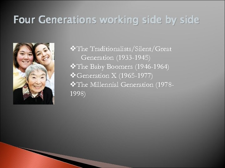 Four Generations working side by side v. The Traditionalists/Silent/Great Generation (1933 -1945) v. The